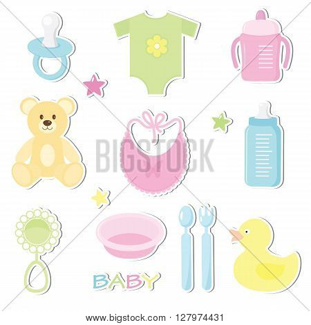 Set of cute baby toy stickers. Design elements for baby shower card scrapbooking invitation. Stickers collection: nipple feeding cup bottle star duck fork spoon plate bib bear rattle clothes. Isolated on white background. Vector illusrtation