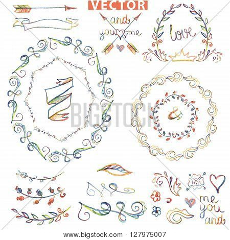 Colored Doodles wreath , floral decor elements set .Watercolor, pencil crayon sketched.Design template, invitation card.Wedding, Valentine day, holiday, Easter and birthday.Love Vector