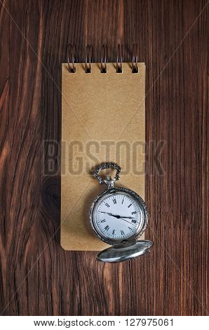 Vintage Notebook And Pocket Watch
