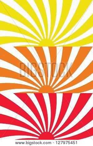 Vector illustration Set Sun Sunburst Sunrise SunSet