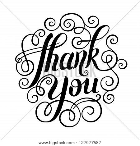 thank you handwritten lettering inscription vector illustration