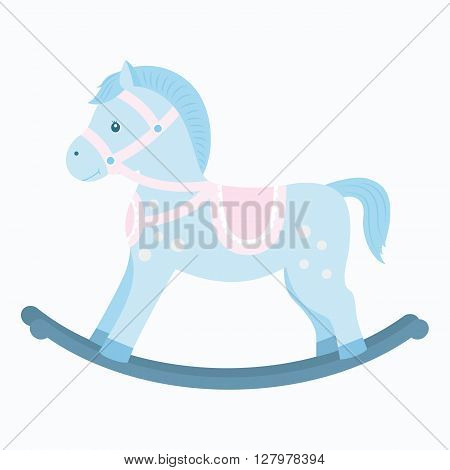 Rocking horse.Baby toy. Design element for baby shower card scrapbooking invitation children's goods and childish accessories. Isolated on white background. Vector illusrtation
