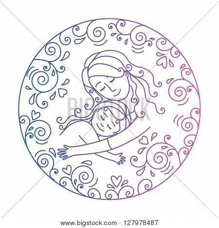 Colored motherly love concept isolated on a white background. Mother and daughter in love inside round.Mother and daugther hug. Motjher and baby.Vector illustration