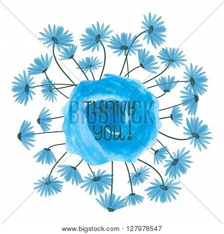 Thank you vector illustration. Watercolor splash and blue delicate flowers isolated on white background.