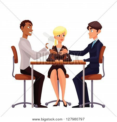 Talks at table, vector comic cartoon on a white background, a job interview, discuss important issues of a corporate, Young businessmen handshaking after negotiation,  offering his partner
