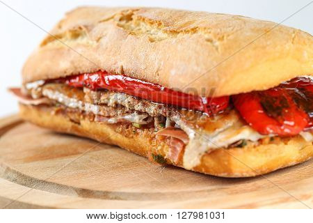 Tasty Pork Grilled Serranito Sandwich In A Ciabatta