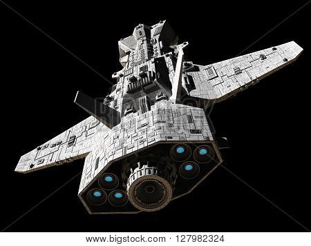Science fiction illustration of an interplanetary gunship, isolated on black, top rear view with blue engine glow, 3d digitally rendered illustration (3d rendering, 3d illustration)