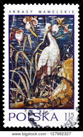 POLAND - CIRCA 1970 : Cancelled postage stamp printed by Poland, that shows painting of a stork.
