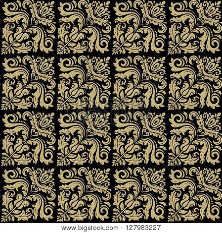 Seamless oriental ornament in the style of baroque. Traditional classic vector pattern. Black and golden pattern. Oriental fine pattern. Asian pattern