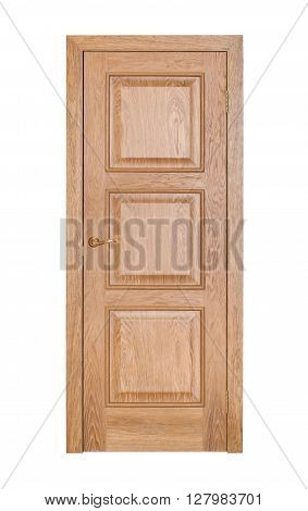 Modern brown room door isolated on white background