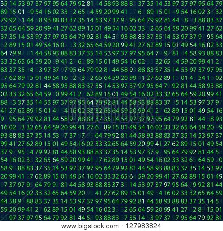 Template coding and programming theme. Green - cyan numbers rows. Vector tiled seamless loopable eps abstract illustration.