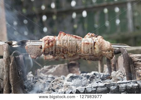Hot shish kebab on metal skewers prepares on the coals outdoors. Grilling shashlik on barbecue grill.