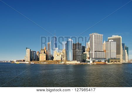 View of the Manhattan Island on a sunny day.