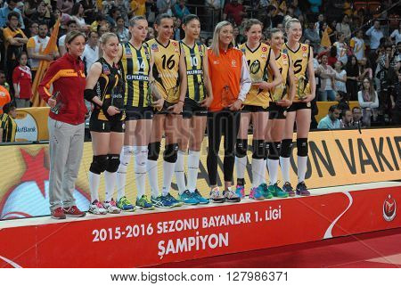 ANKARA TURKEY-APRIL 30, 2016 : Best libero,digger, passer, setter and outside-hitter on the podium after the Volleyball Women 1st League of Turkey at the Baskent Volleyball court. April 30, 2016-Ankara/Turkey