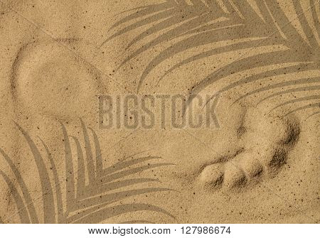 Lonely footprint on the beach. Summer time background.