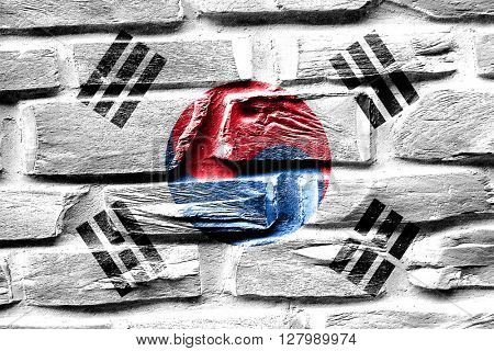 Brick wall South korea flag with some cracks and vintage look