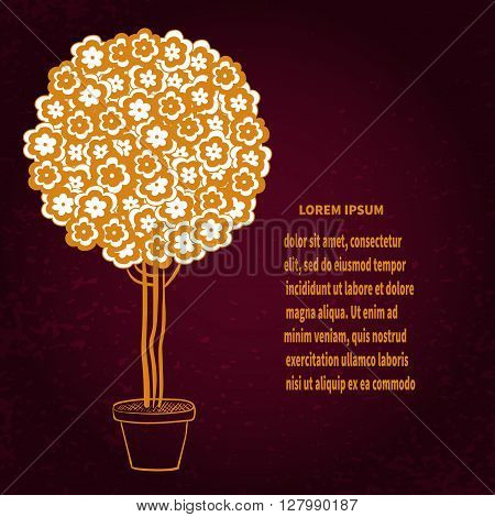 Blossom tree in pot, stylized bonsai in gold. vector illustration.