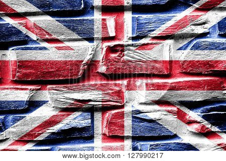 Brick wall Great britain flag with some cracks and vintage look