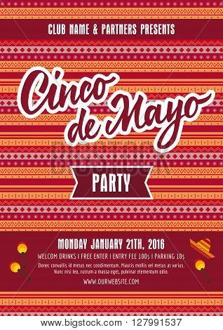 Cinco de Mayo Party poster template with sample text on Mexican pattern background