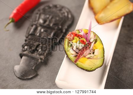 Ceviche With Avocado E Plantain. Typical Peruvian Food.