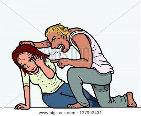 Hand drawn Vector illustration about Domestic violence