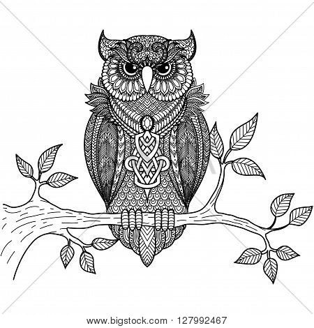 Zentangle stylize of owl sitting on the branch for coloring book for adult, T - Shirt graphic, poster and so on