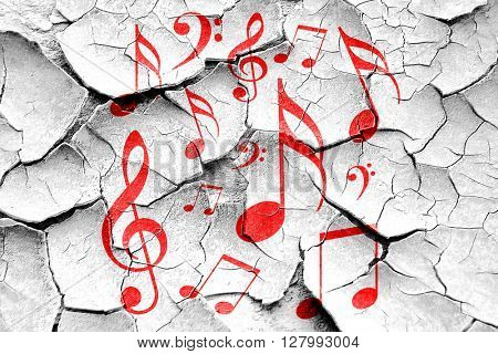 Grunge cracked Music note background