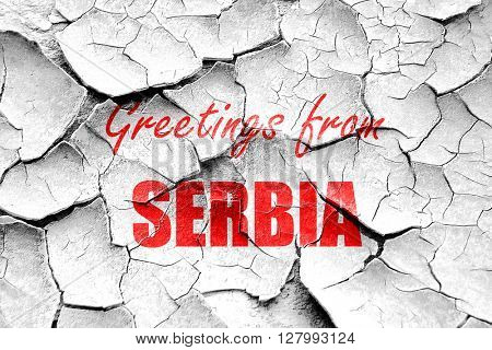 Grunge cracked Greetings from serbia