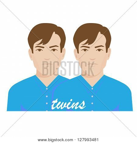 vector illustration of twin brothers in blue shirts on white background.