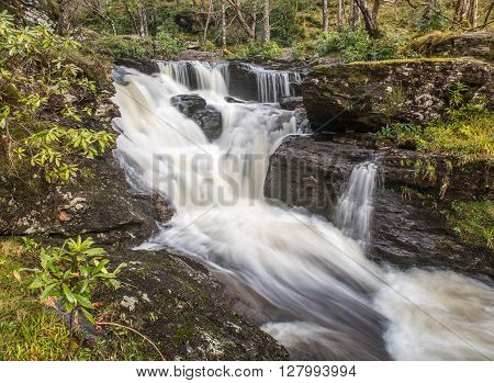 The final Waterfalls in Woods at Inversnaid before the big drop into Loch Lomond