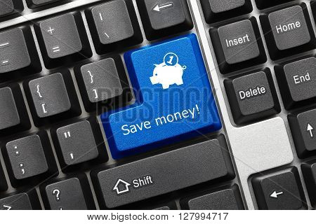 Conceptual Keyboard - Save Money (blue Key With Moneybox Symbol)