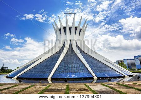 Brasilia, Brazil - November 17, 2015: The Cathedral of Brasilia, designed by Oscar Niemeyer in Brasilia, capital of Brazil.
