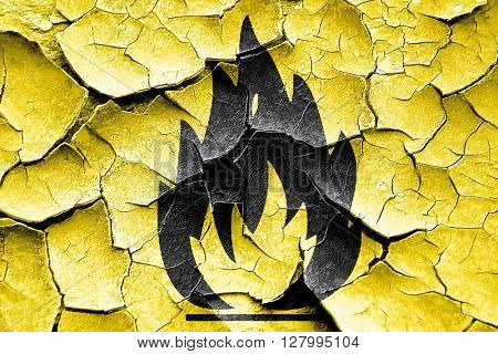 Grunge cracked Flammable hazard sign