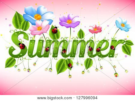 Summer card for wishes with beginning of summertime. Word summer in nature style with meadow flowers green leaves with dew drops and ladybugs. Summer card. Nature logo. Vector illustration