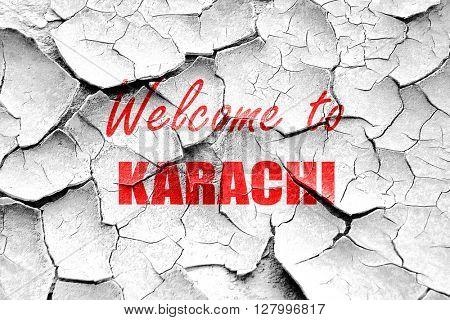 Grunge cracked Welcome to karachi