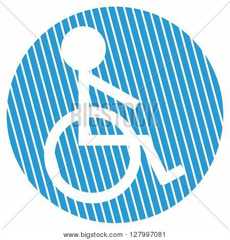 Striped round Button with white symbol is showing wheelchair