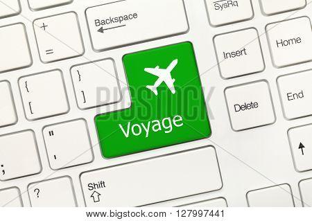 White Conceptual Keyboard - Voyage (green Key With Airplane Symbol)
