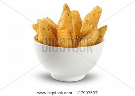 Fries in bowl, brazilian snack. White background.