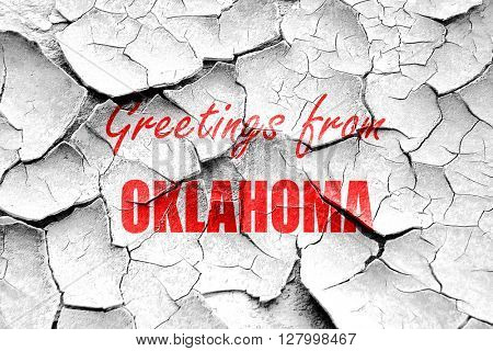 Grunge cracked Greetings from oklahoma