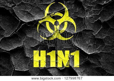 Grunge cracked H1N1 virus concept background