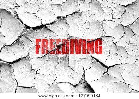 Grunge cracked freediving sign background