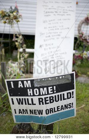 Sign in yard after Hurricane Katrina, New Orleans, Louisiana