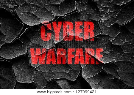 Grunge cracked Cyber warfare background