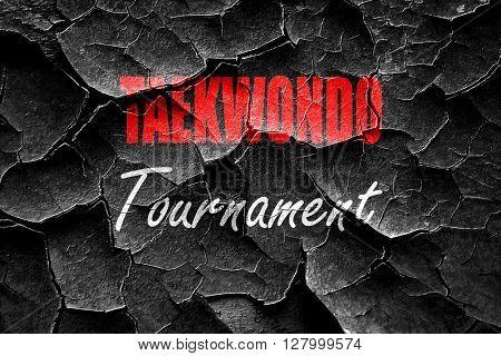 Grunge cracked taekwondo sign background