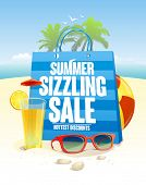Summer sizzling sale with blue shopping bag on a beach  backdrop with palms, sun glasses and cocktai poster
