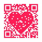 pic of encoding  - QR code pixels make a pink heart - JPG