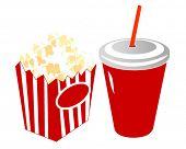 Постер, плакат: Фильм палочками и прохладительными напитками