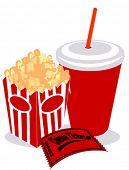 Постер, плакат: Соды попкорн и билет в кино вектор