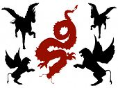 pic of chinese unicorn  - Mystical Creatures Silhouette  - JPG