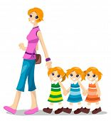 stock photo of triplets  - Mom with Triplets  - JPG